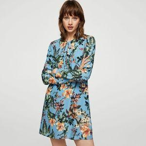 Mango blue floral dress